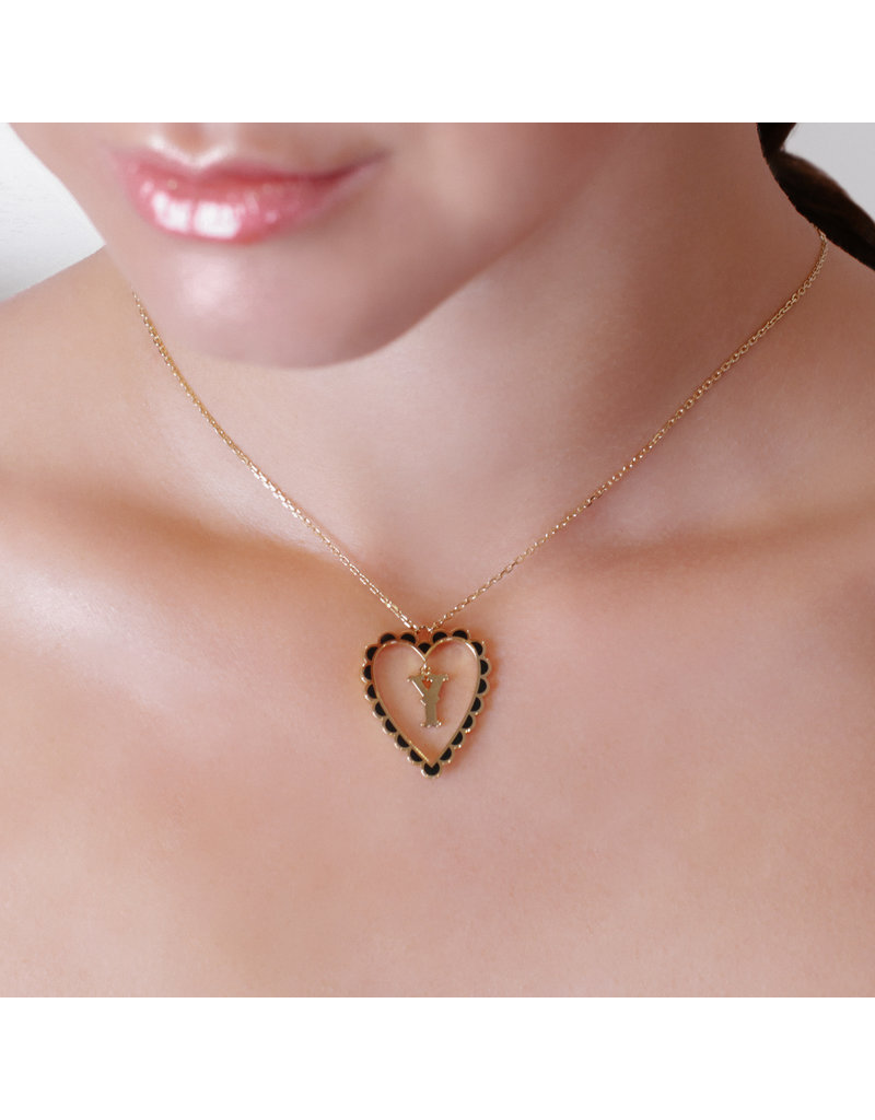 Calliope Alphabet  Heart Necklace Letter J  in Ebony
