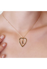 Calliope Alphabet Heart Necklace Letter A in Ebony