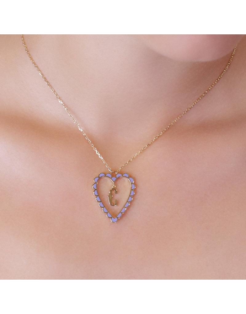 Calliope Alphabet  Heart Necklace Letter E in Lilac