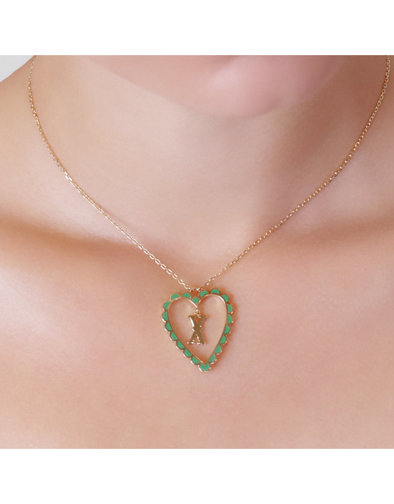 Calliope Alphabet Heart Necklace Letter V in Evergreen