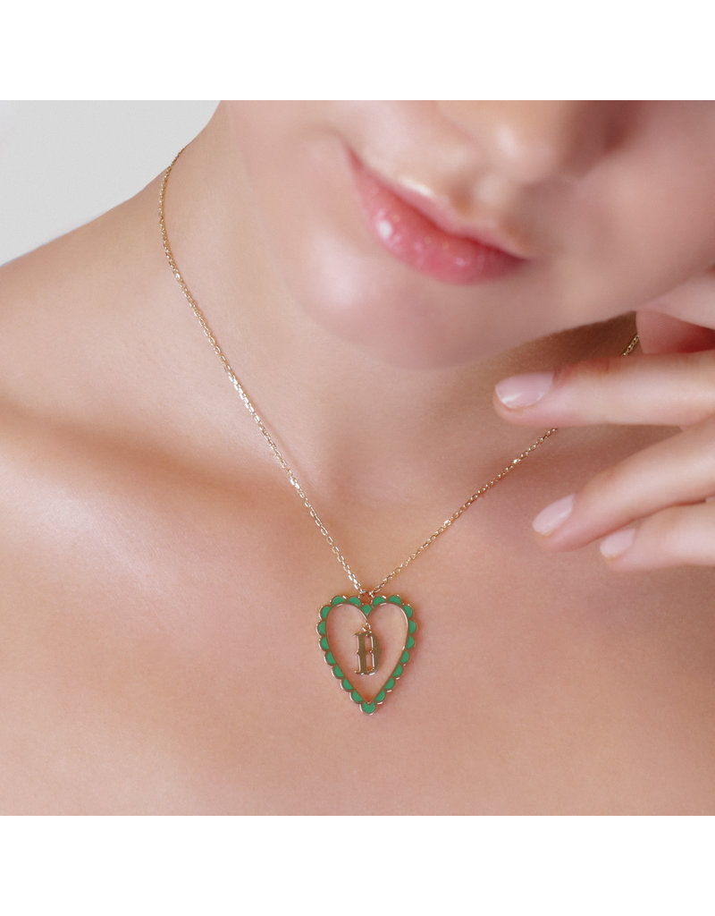 Calliope Alphabet  Heart Necklace Letter P in Evergreen