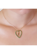 Calliope  Alphabet Heart Necklace Letter M in Evergreen