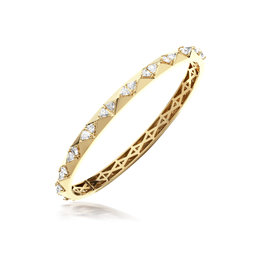 Calliope Carnival Bangle in Yellow Gold with Trillion Diamonds