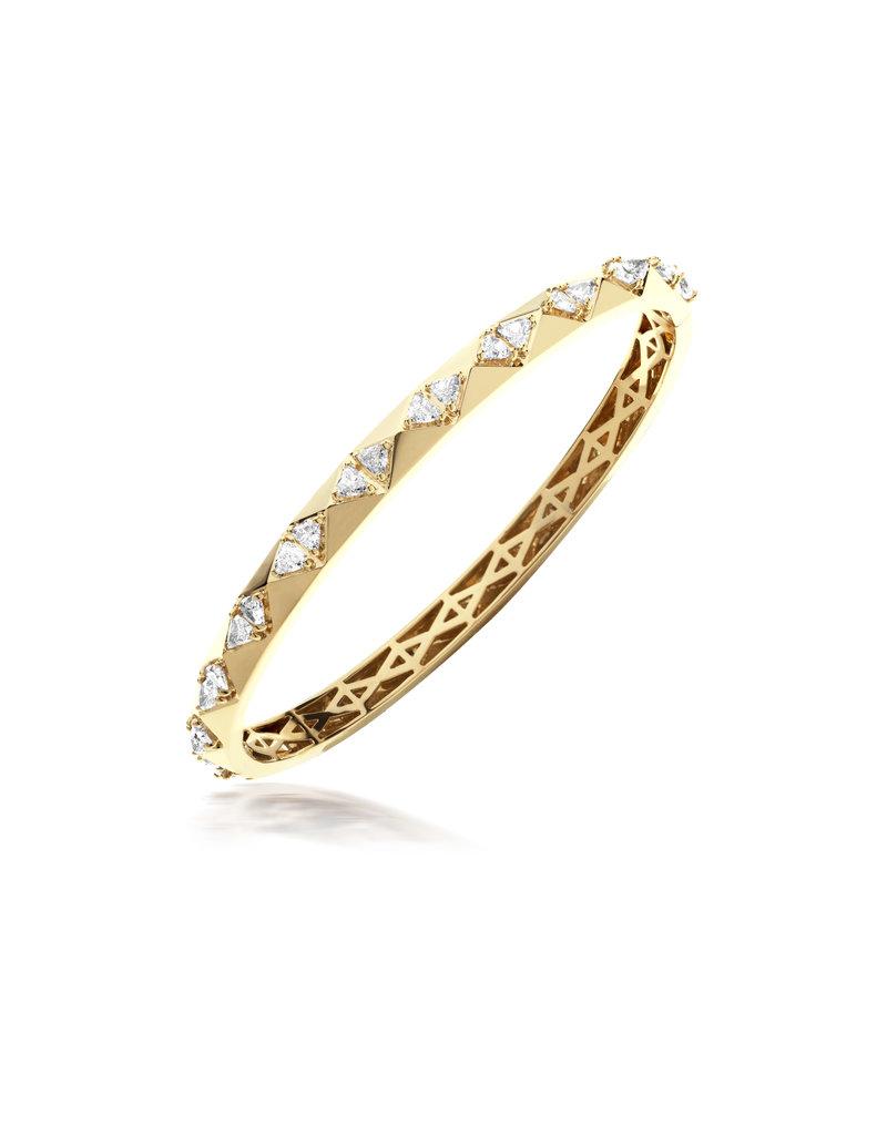 Calliope Carnival Bangle in Yellow Gold with Trillion Diamonds