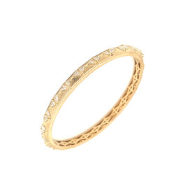 Calliope Carnival Bangle in Yellow Gold with Trillion Diamonds Matte Finishing