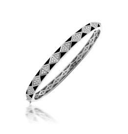 Calliope Carnival Bangle White Gold in Ebony Pave with Diamonds