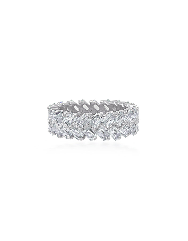 Shanhan Chevron Ring In White Gold With Diamonds