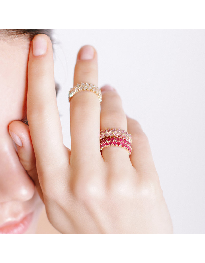 Shanhan Chevron Ring In Rose Gold With Diamonds