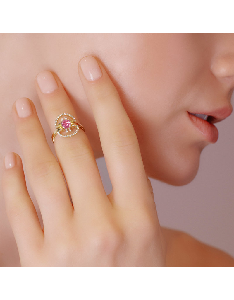 Shanhan String Dancer Motif Ring Cherry Blossom