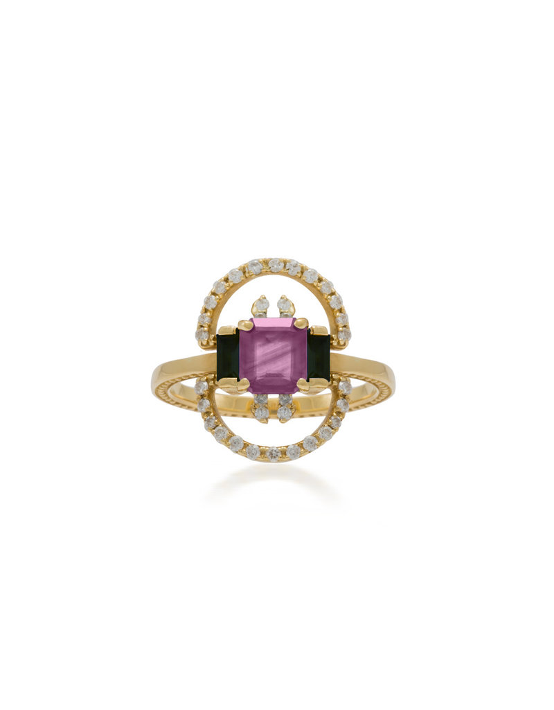 Shanhan String Dancer Motif Ring With Pink And Blue Sapphire