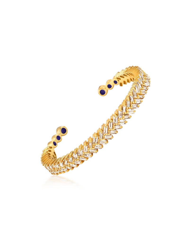 Shanhan Chevron Bangle With Diamonds in Yellow Gold
