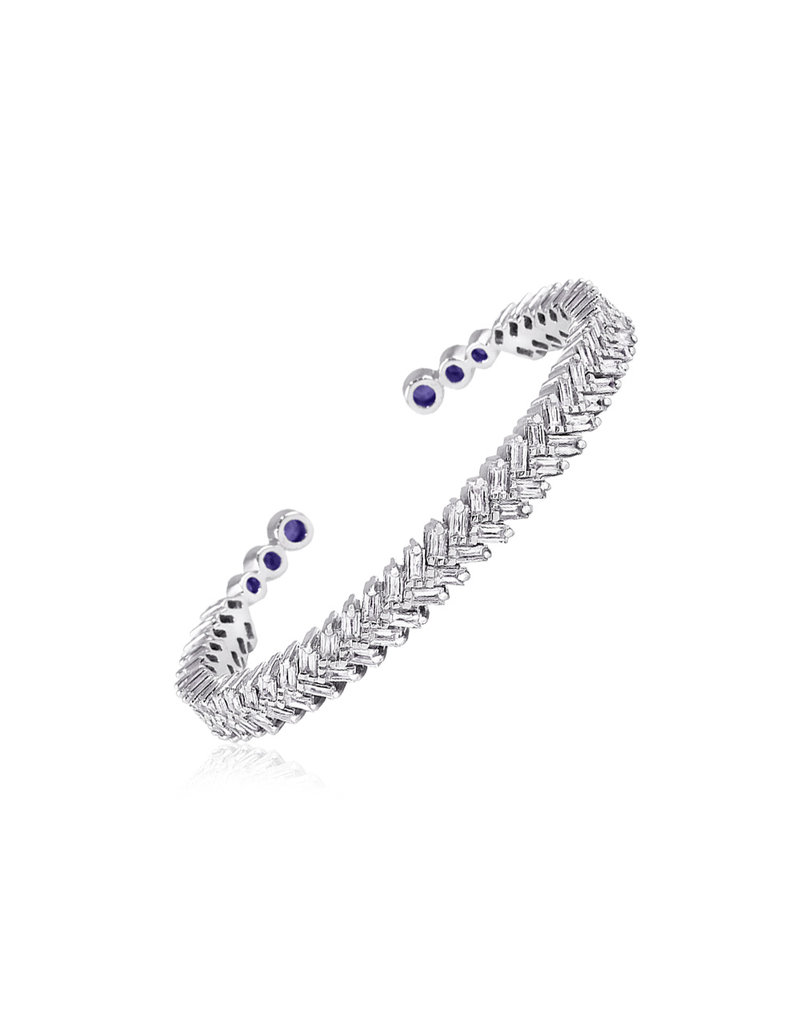 Shanhan Chevron Bangle With Diamonds in White Gold