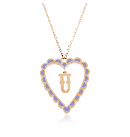 Calliope Alphabet Heart Necklace in Letter U