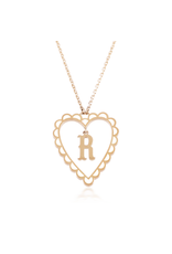 Calliope Alphabet Heart Necklace in Letter R