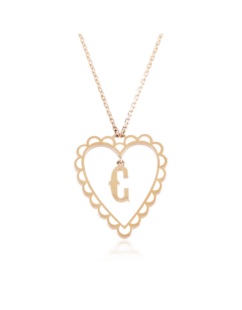 Calliope Alphabet Heart Necklace In Letter C