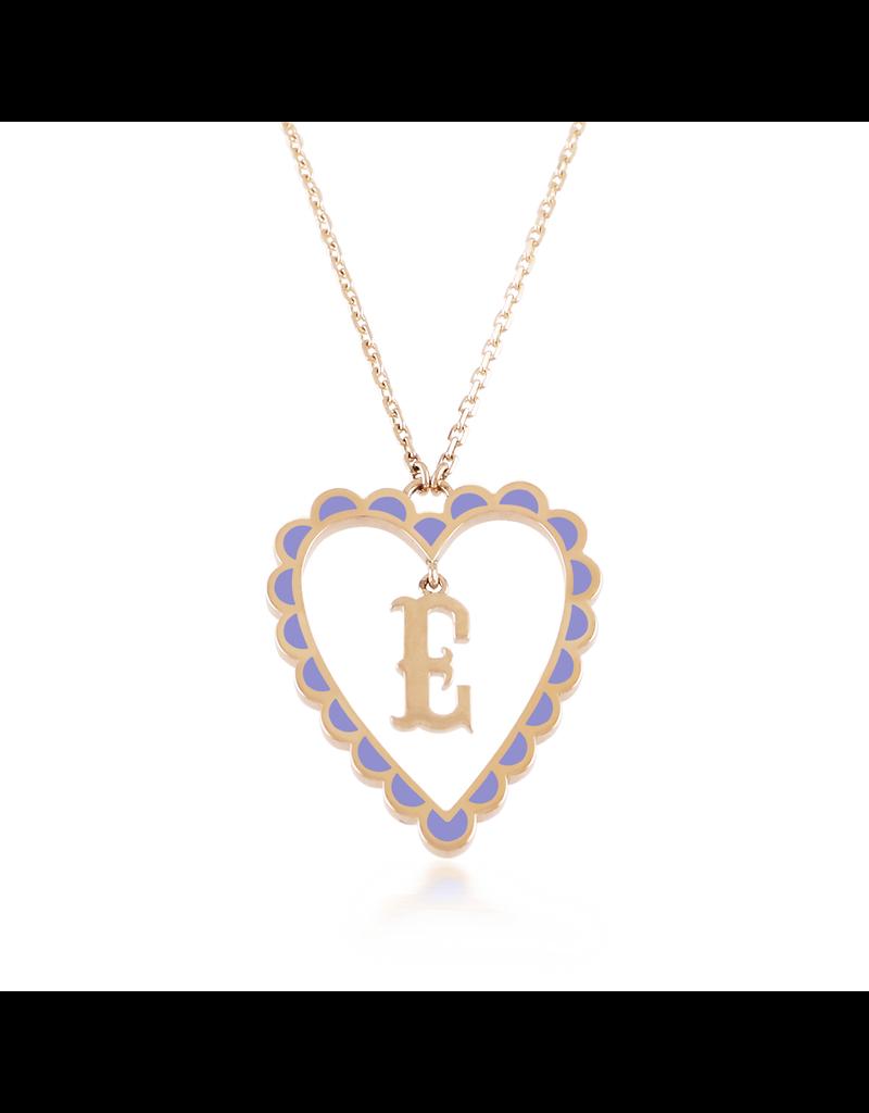 Calliope Alphabet Heart Necklace In Letter E