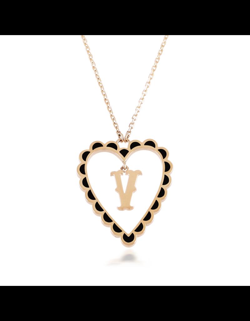 Calliope Alphabet Heart Necklace In Letter V