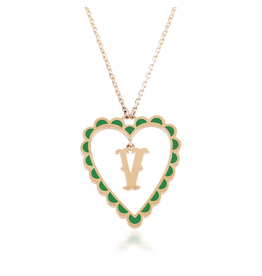 Calliope Alphabet Heart Necklace In Letter V