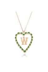 Calliope Alphabet Heart Necklace In Letter W