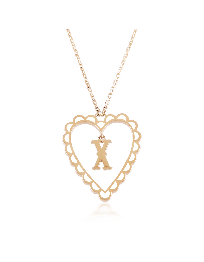 Calliope Alphabet Heart Necklace In Letter X