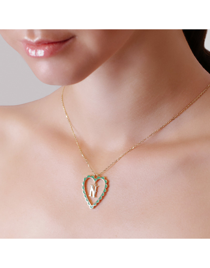 Calliope Alphabet Heart Necklace In Letter N