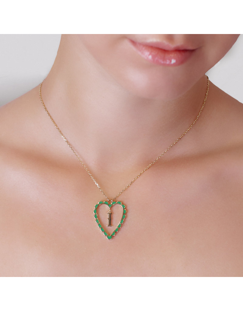 Calliope Alphabet Heart Necklace In Letter I