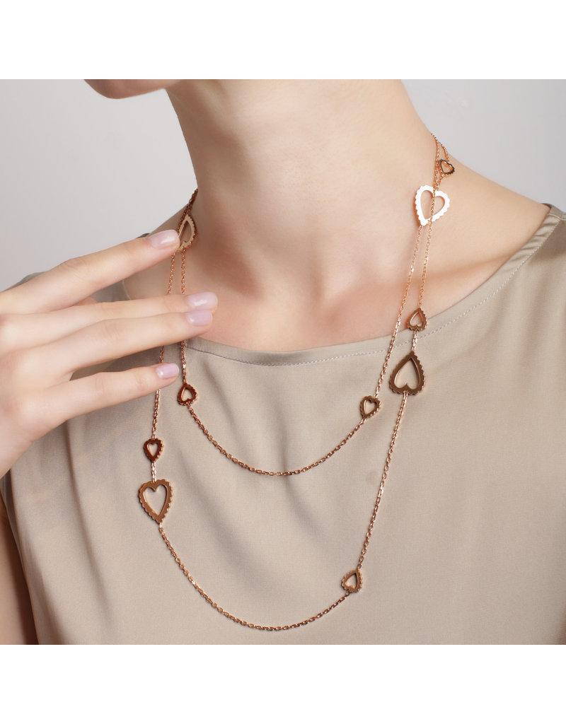 Calliope Long Necklace with Hearts in Rose Gold