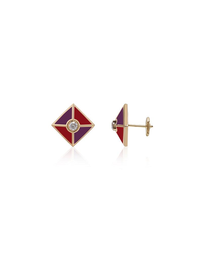 Calliope Harlequin Star Scarlet Stud Earrings