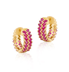 SKJ Shanhan Chevron Mini Hoop Earrings in Red Lantern