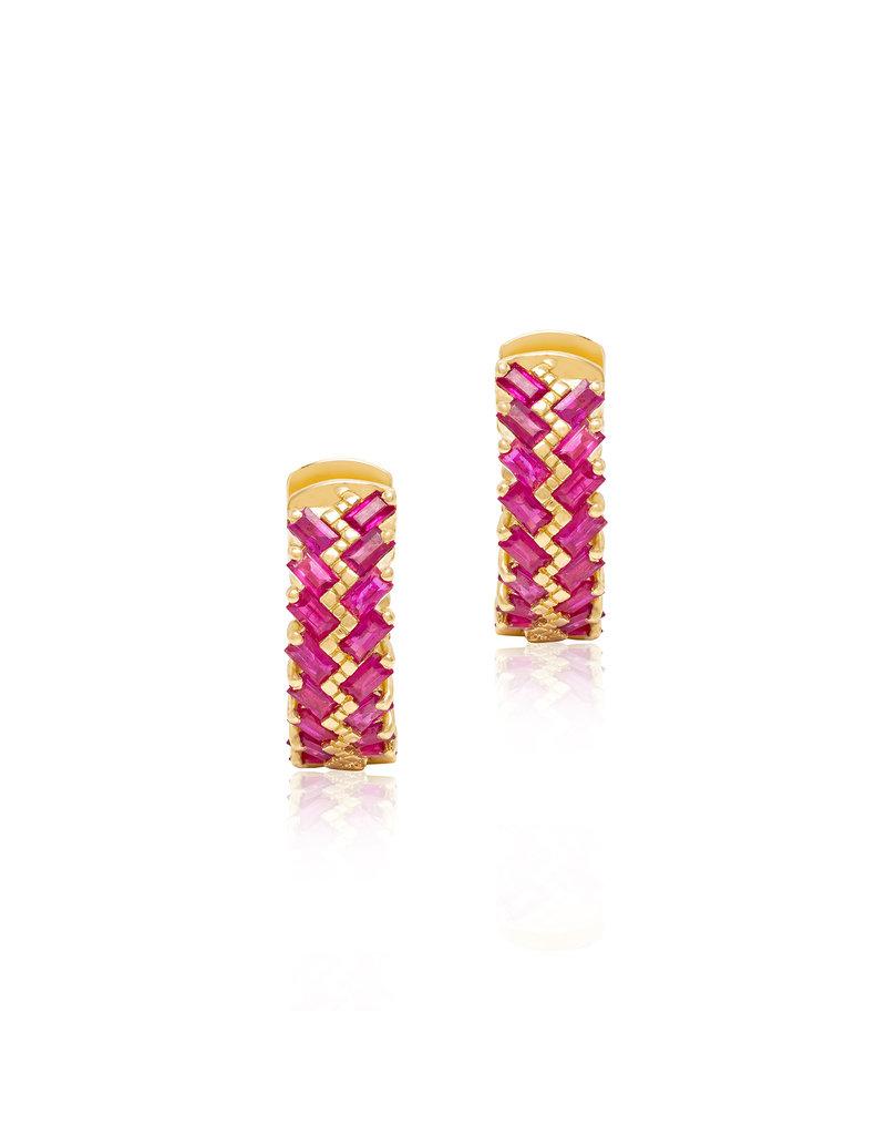 SKJ Shanhan Chevron Mini Hoop Earrings in Red  Lantern