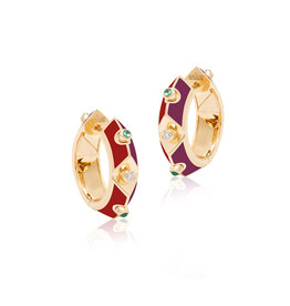Calliope Harlequin Star Hoop Earrings in Scarlet (Limited Edition)
