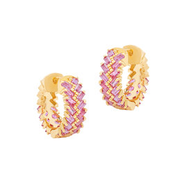 Shanhan Chevron Mini Hoop Earrings in Cherry Blossom
