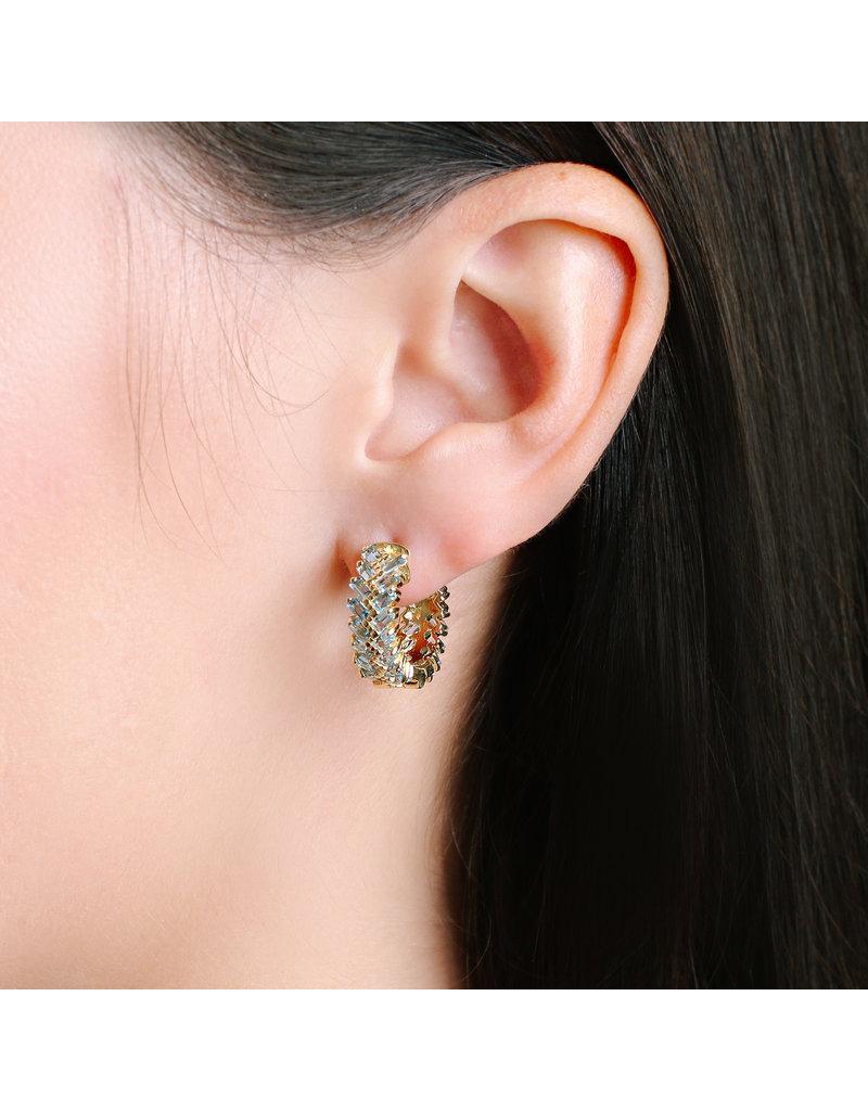 Shanhan Chevron Mini Hoop Earrings in Blue Lotus