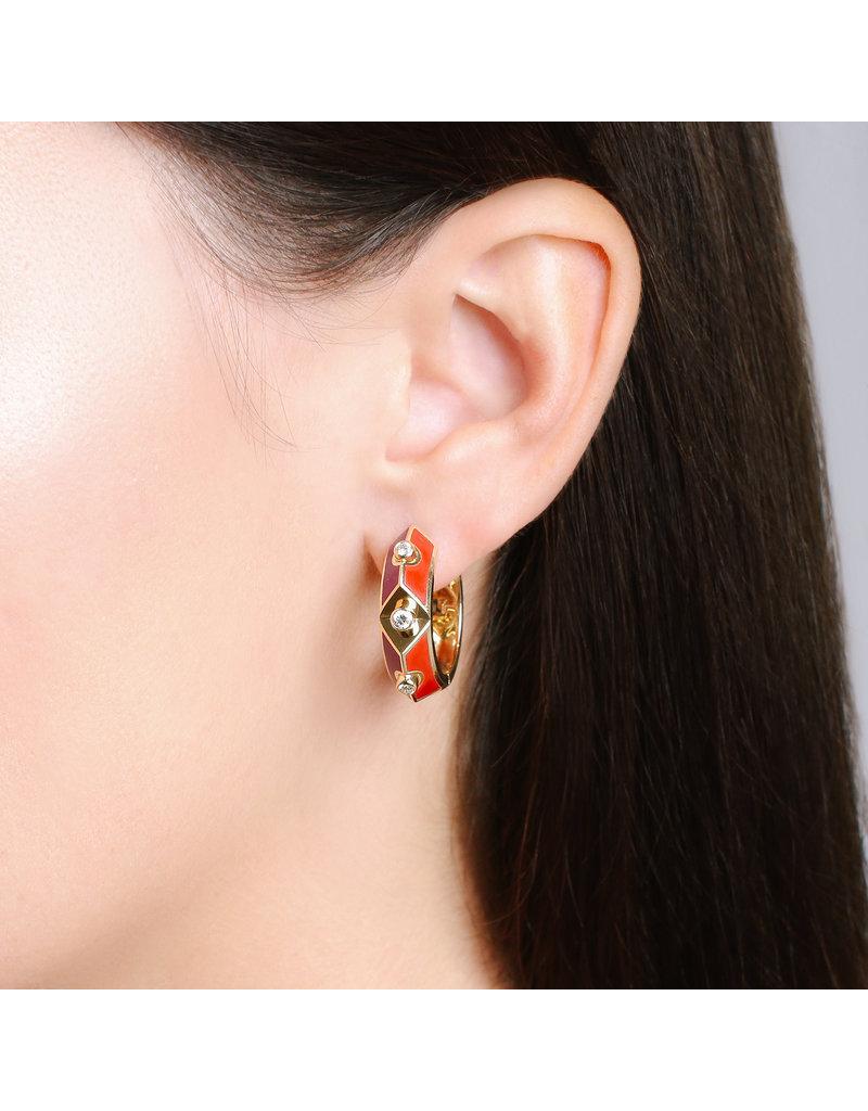 Calliope Harlequin Star Ear hoop In Scarlet