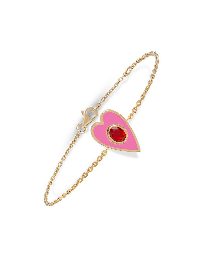 Calliope Heart Bracelet in Pink