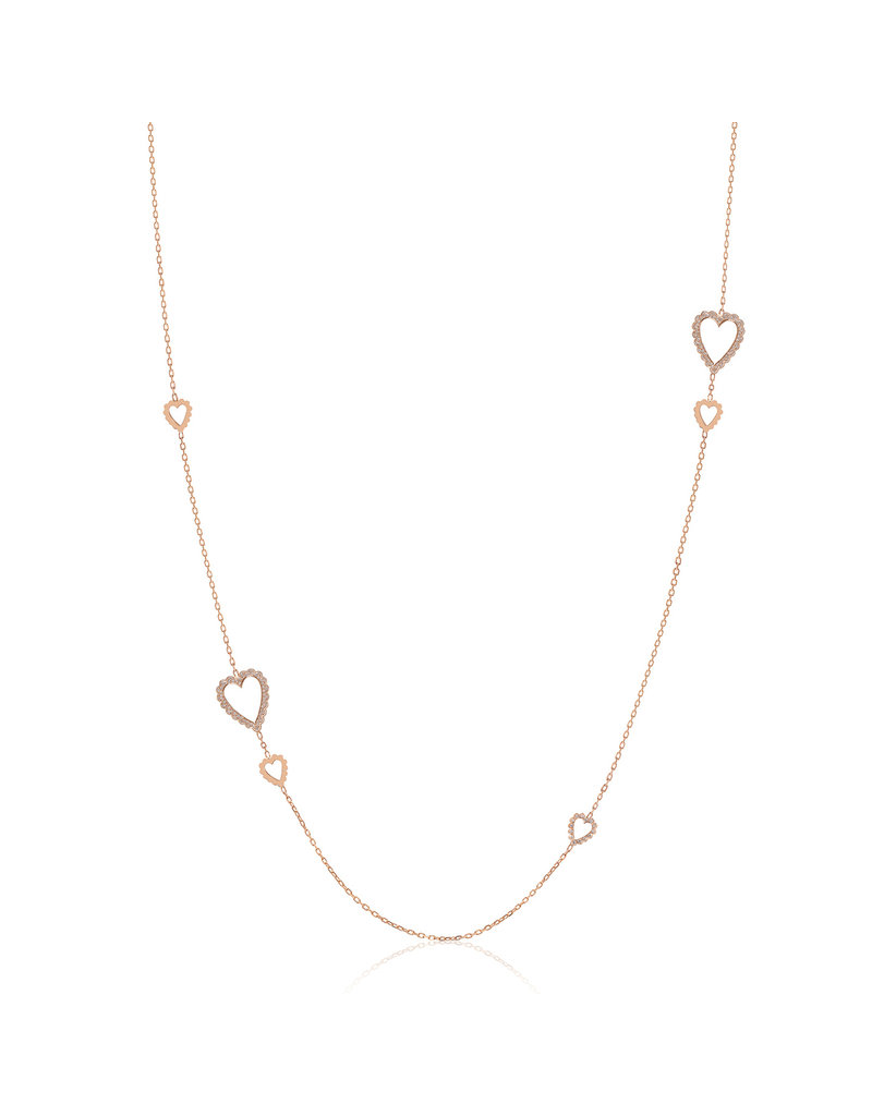 Calliope Long Heart Necklace with Diamonds
