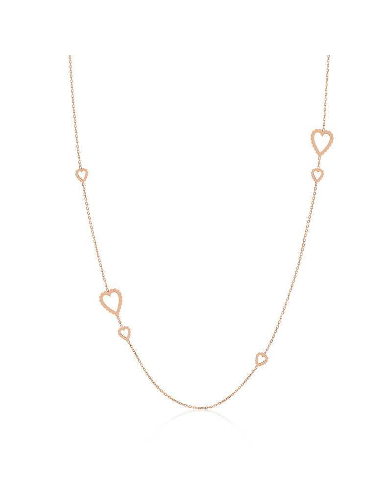 Calliope Long Heart Necklace in Full Gold