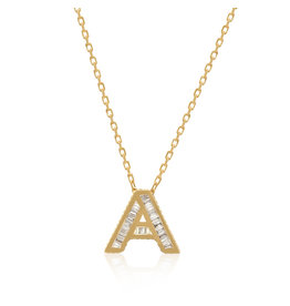 Spell My Love Mini Pendant Letter A  in Yellow Gold