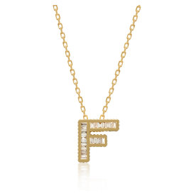 Spell My Love Mini Pendant Letter F  in Yellow Gold