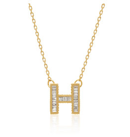 Spell My Love Mini Pendant Letter H in Yellow Gold