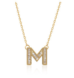 Spell My Love Mini Pendant Letter M in Yellow Gold