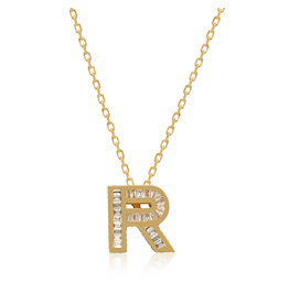 Spell My Love Mini Pendant Letter R in Yellow Gold