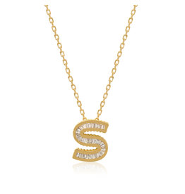 Spell My Love Mini Pendant Letter S in Yellow Gold