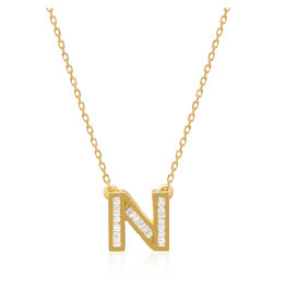 Spell My Love Mini Pendant Letter N in Yellow Gold