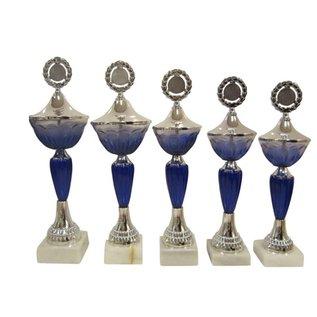 1526 Beker blauw met glazen cup