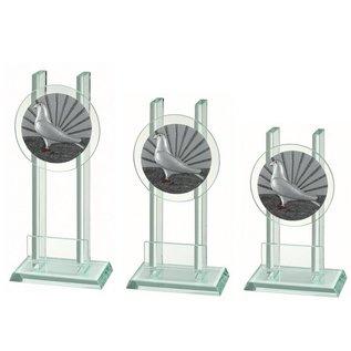 227 Glazen standaard duif