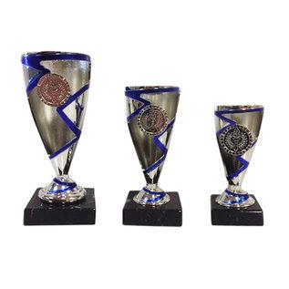 1990 kunststof beker blauw-zilver
