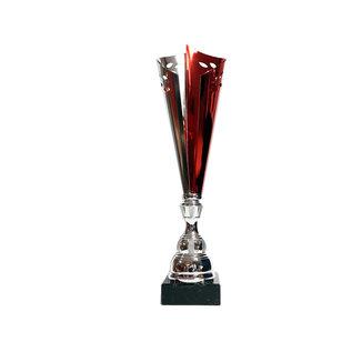 X202 Beker zilver-rood