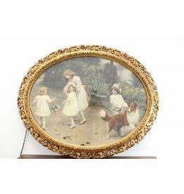 Oude Prent van Arthur John Elsley  schilderij  'Love at the first sight' Ovale bladgouden houten Kader van