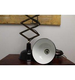 Vintage industrial scissor lamp with enamel shade